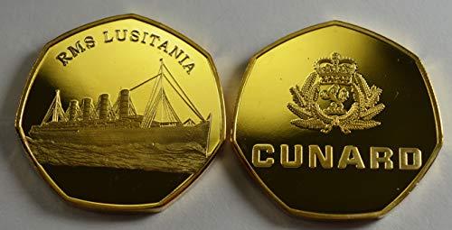The Commemorative Coin Company RMS LUSITANIA Cunard 24 Karat Gold Gedenkmünzenalben, 50 Pen, Sammler, Münzjagd Ocean Liner WW2 -