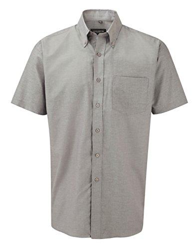 Russell Collection Chemise Oxford à manches courtes et facile d'entretien pour homme - gris -