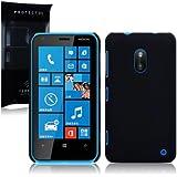 Nokia Lumia 620 Hybrid Rubberised Back Cover / Case / Shell / Shield - Solid Black