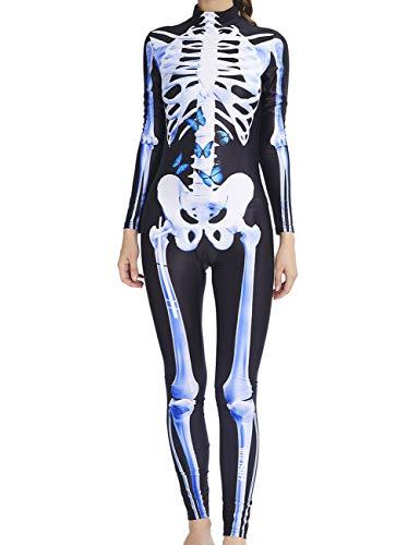 AIDEAONE Halloween Kostüm Damen Skelett Bodysuit Jumpsuit Knochen Skeleton Anzug Karneval Fasching - Für Erwachsenen Knochen Bodysuit Kostüm