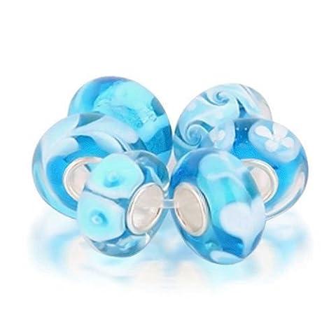 Satz von sechs Bundle Blau simulierten Türkis Murano Glas Handgewickelte Perlen Charme Silber