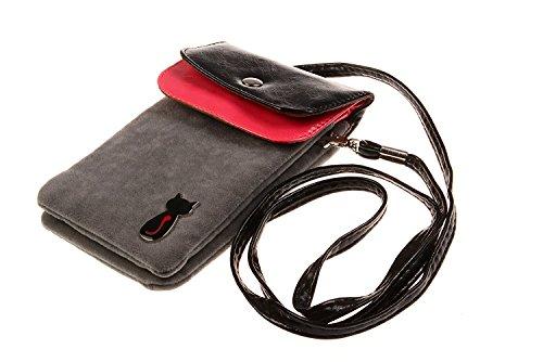 Bronze Times Universale Handytasche Geldbeutel Sportstasche mit Katze Fußabdruck und Handschlaufe Grau (Standard-bücherregal)