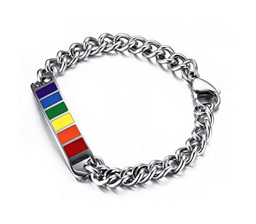 Vnox Jewelry Armband, Edelstahl, Regenbogenfarben Gummi-Besatz, Schwule und Lesben, Silber, Breite 10mm, Länge 20,3cm