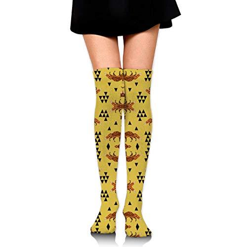 DGHKH Fox Geometric Fox Geo Mustard Triangles Kids Nurse Novelty Socks Tall Socks Knee High Graduated Compression Socks for Unisex -