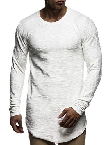 LEIF NELSON Herren Pullover Rundhals-Ausschnitt | Schwarzer Männer Longsleeve | dünner Pulli Sweatshirt Langarmshirt Crew Neck | Jungen Hoodie T-Shirt Langarm Oversize | LN6298 Ecru X-Large
