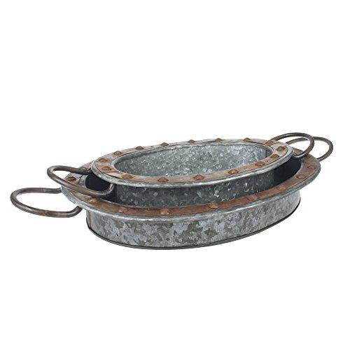 Stonebriar ovales Serviertablett aus verzinktem Metall mit Rost-Rand und stabilen Metallgriffen, Industrie-Butler-Tablett, einzigartiger Couchtisch oder Schreibtisch-Organizer für Dokumente -