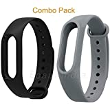 MI cosa Black and Grey Combo (only for mi Band 3, 3i and 4) Adjustable Watchband Silicone Strap Black and Grey Colour…