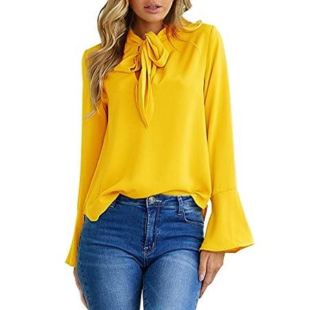 Aitos Blusen Damen Langarmshirt Oberteile V-Ausschnitt Flare Hülse Elegant Chic Lose Vintage Hemd Tuniken T Shirt Einfarbig Plain Casual Freizeit