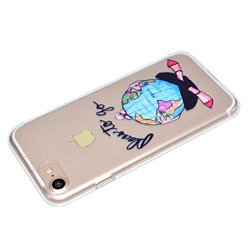 Ecoway iPhone 7/7G (4,7 zoll) Case Cover, Série Dream Girls TPU Transparent Soft Coquille Housse de Protection Housse Pour Téléphone Portable Pour iPhone 7/7G (4,7 zoll) - voyageur monde
