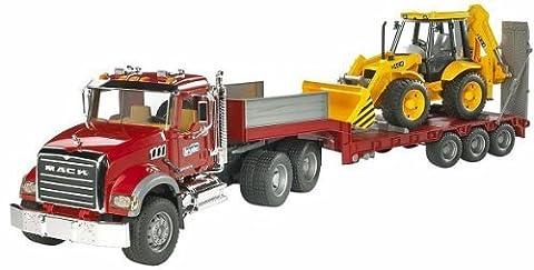 Bruder Mack Granite Flatbed Truck with JCB Loader Backhoe by Bruder TOY (English Manual)