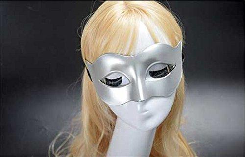 ParttYMask Maskerade,Männer Masken Halloween Kostüme Tänze Masken Damen einfarbig minimalistisch Halbgesicht Zorro-Halbgesicht Maske Silber Masquerade