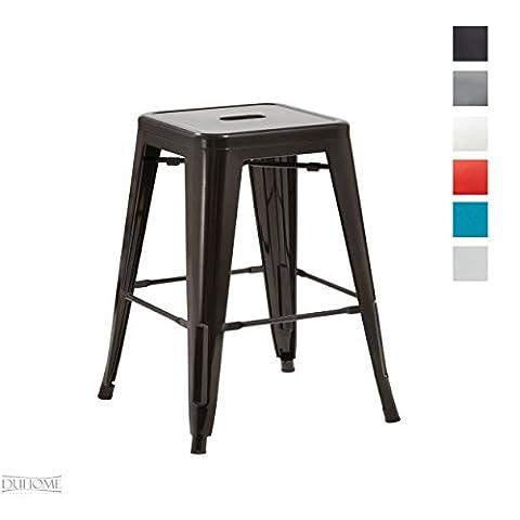 Tabouret de bar métal au design industry noir empilable sélection de couleurs chaise en fer rétro