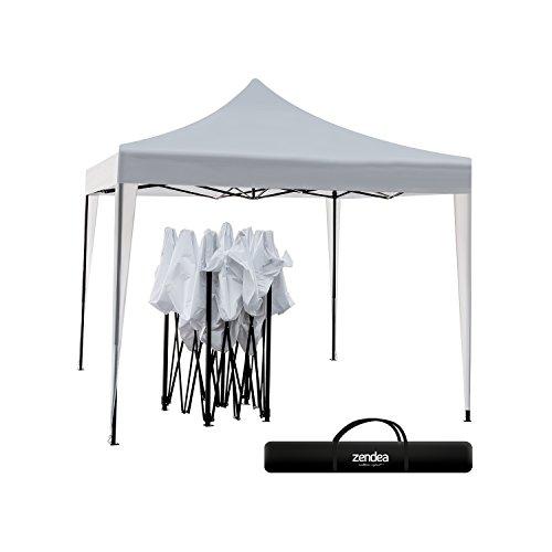Gazebo pieghevole richiudibile telescopico 3x3 m. telo bianco per mercato fiera manifestazioni sagra campeggio giardino
