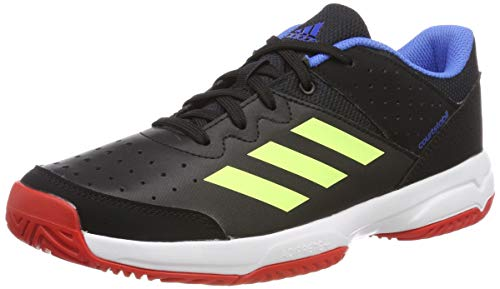 adidas Unisex-Kinder Court Stabil Jr Handballschuhe, Schwarz Core Black/Hi/Res Yellow/Active Red, 38 2/3 EU