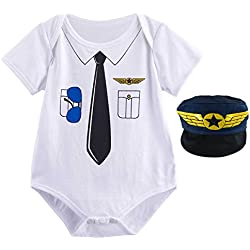 Mombebe Body Bebé Niño Piloto Halloween Disfraz con Sombrero (Piloto, 9-12 Meses)