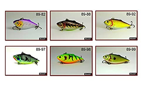 Akuna Pack of 6 Rattlin' Rover Lipless Series 2.5 inch Sinking Fishing Lure [BP-6-FLA-89-C]