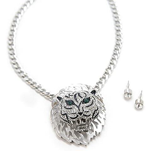 Lux accessori, grande con leone verde pietra ciondolo collana orecchini in coordinato.