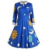 Damen Langarm Revers Cocktailkleid 1950er Jahre Faltenrock Party Kleid MYMYG Sonne Mond Sterne Print Party Swing Drucken Flare Vintage Kleid (Blau,EU:38/CN-L)