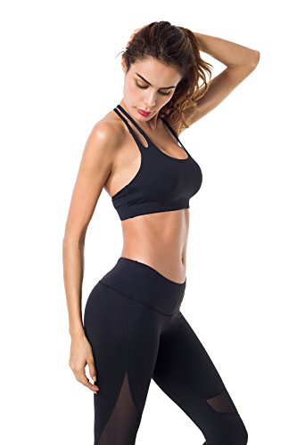 Queenie Ke Damen Yoga Sport BH Gepolstert T-Rücken Schwarz#1