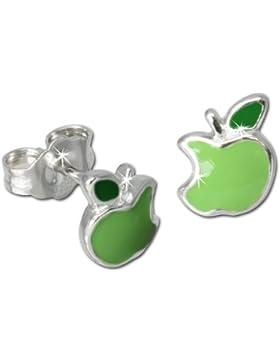 Tee-Wee Kinder Ohrring angebissener Apfel grün 925 Sterling Silber Kinderohrstecker Kinderschmuck SDO604G
