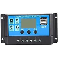 12V / 24V Panel Solar Cargador Controlador Batería Regulador USB LCD Sistema de Carga Solar Controlador con Sensor de luz del Temporizador - Negro
