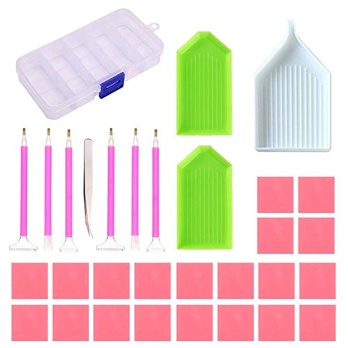 ToDIDAF_Diamond Painting Tools, 5D DIY Diamond Painting Accessories, 20 Pcs Stick Drill Clay + 6 Pcs Diamond Sticky Pen + 3 Pcs Plastic Plate + 1 Dice + 1 Storage Box