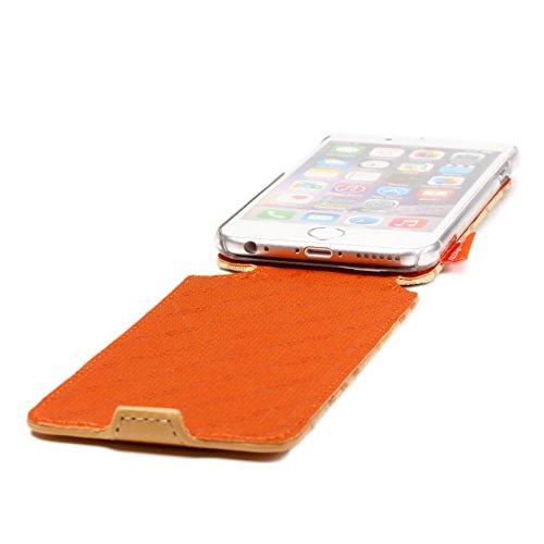 Étui iPhone 6 / 6s, Melko Checker [Flip Case] Series Housse Coque Apple iPhone 6 / 6s Téléphone Smartphone Marron- Orange- Jaune Flip