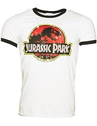 Mens White Jurassic Park Logo Ringer T Shirt