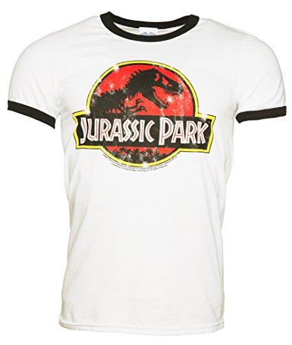Mens White Jurassic Park Logo Ringer T Shirt (Ringer Logo White T-shirt)