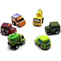 Preisvergleich für 6 Stücke Zurückziehen Autos Fahrzeug Lkw Set Mini Auto Modellbau Racing Vintage Kind Geschenk-Random