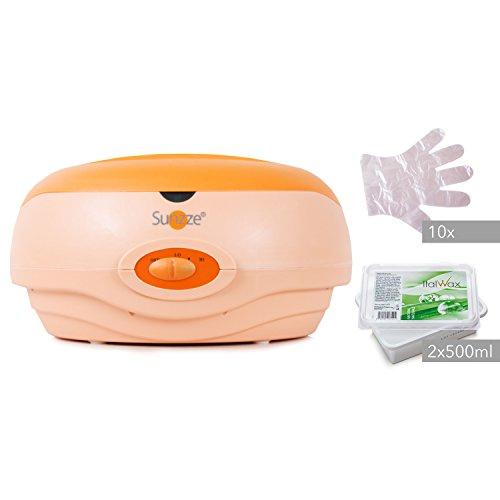 Sunzze Paraffin-Bad Komplett-Set mit Paraffin-Erhitzer, 1l Paraffinwachs und Plastikhandschuhe. Fördert die Durchblutung, macht die Hände und Füße weich und geschmeidig (Natural)