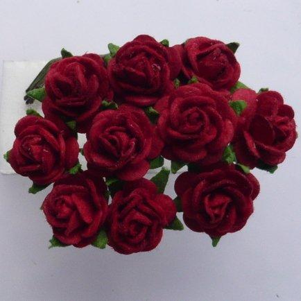 carta-fatta-a-mano-tea-rose-2-mazzi-di-12-rose-dark-red
