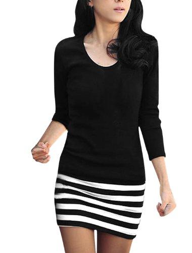 allegra-k-ladies-scoop-neck-full-sleeve-textured-stripes-mini-dress-m-black