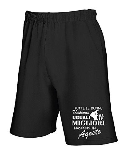 Cotton Island - Pantalone Tuta Corto T1009 TUTTE LE DONNE NASCONO UGUALI MA LE MIGLIORI NASCONO IN AGOSTO fun cool geek Nero