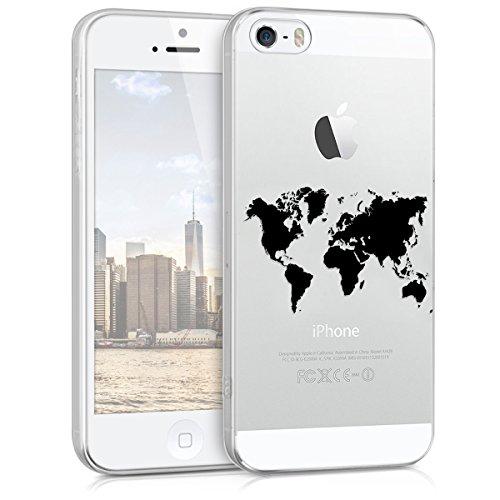 kwmobile Apple iPhone SE / 5 / 5S Hülle - Handyhülle für Apple iPhone SE / 5 / 5S - Handy Case in Schwarz Transparent