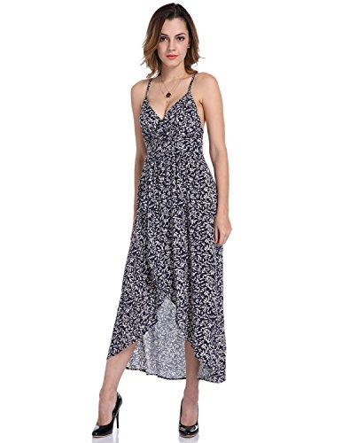 MODETREND Damen Strandkleid mit Tief V-Ausschnitt Rückenfrei Schlinge Geblümt Sommerkleid Ballkleid Kleider Blau