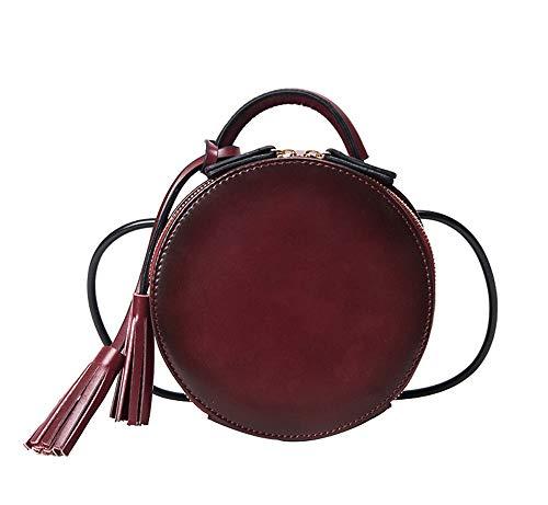 JUND 2018 Retro Mode Metallgriff Handtasche Nieten Leder Umhängetasche Trendy Freizeit Rund Messenger Bag -