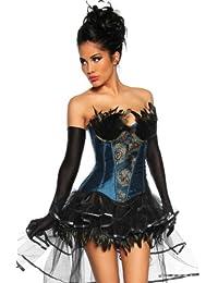 Superbe corset burlesque sexy à plumes jardin design noir/bleu/or-taille xL