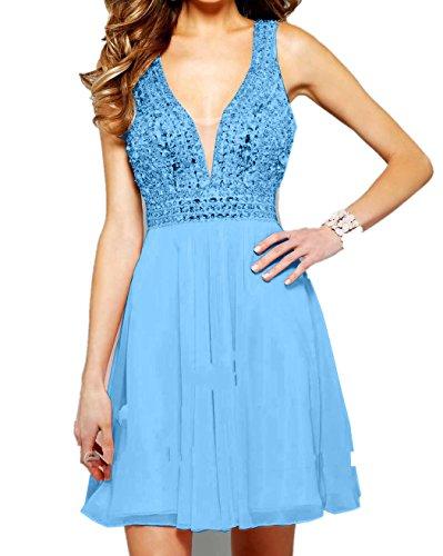Charmant Damen Rosa 2017 Neu Schoenes Abendkleider Kurzes Cocktailkleider Ballkleider mit Steine V-ausschnitt Blau