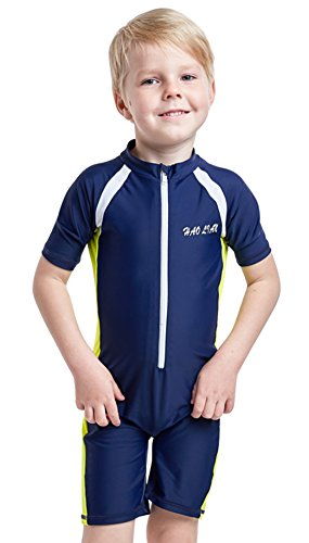 HaoLian Boys Shorty One Piece Floating Swimsuits UPF 50+ Rash Guard Swimming Costume for Water Sports Age 3-14 Years