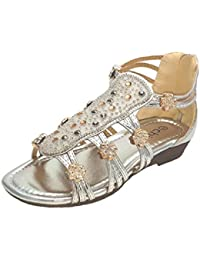 9e6e47d4a43a5 chix Girls Silver Multi Gem Strappy Summer Sandals - Party Beach Holiday  Shoes
