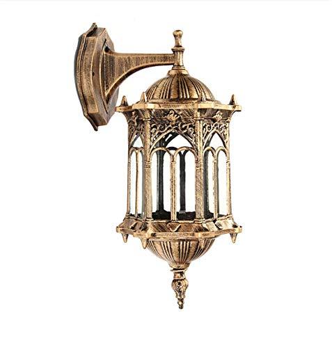 Wand Lampe E27 Outdoor Bronze Antik außen Wandleuchte Leuchte Aluminium Glas Laterne Gartenleuchte Größe: 19 * 16 * 34cm - Aluminium Große Outdoor-wandleuchte