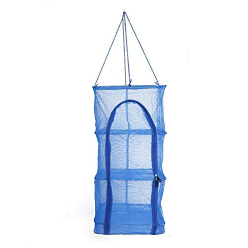 EisEyen Getrockneter Fisch Trocknungsnetz Hang Cage Fish Rack 4 Schichten Gemüse Fischgerichte hängend Trocknen Net im Freien zum Aufhängen -