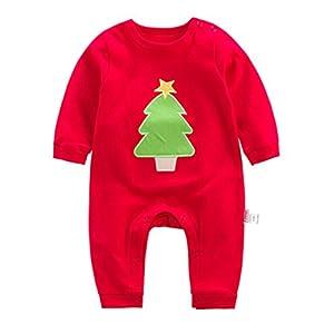 Bambino Pagliaccetto Unisex - Neonato Animale Stile Caldo Manica Lunga Cotone Autunno e Primavera Body Tuta Albero di Natale Rosso 6-9 Mesi