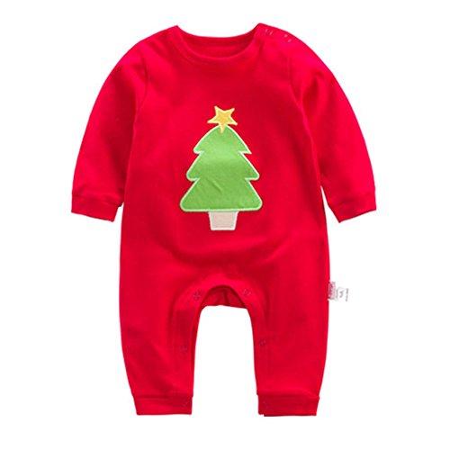 Juleya Infant Natale Pigiama Costume Babbo Natale manica lunga Pagliaccetto Tutine Neonato 6-9 mesi