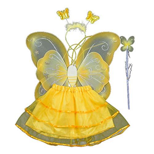 Chenqi 4Pcs Mädchen Fee Kostüme Schmetterling Fee Flügel -