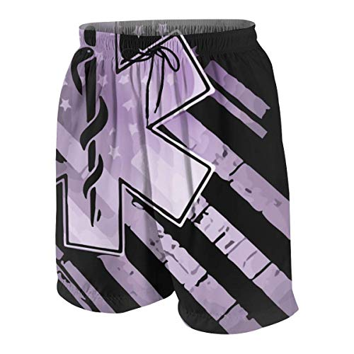 9 Pocket Emt Pant (KAKICSA EMT US Flag Mens Hawaiian Shorts Quick Dry Boxer Brief 3D Printed Elastic Beach Short Aloha Short with Pocket,Size:XXL)