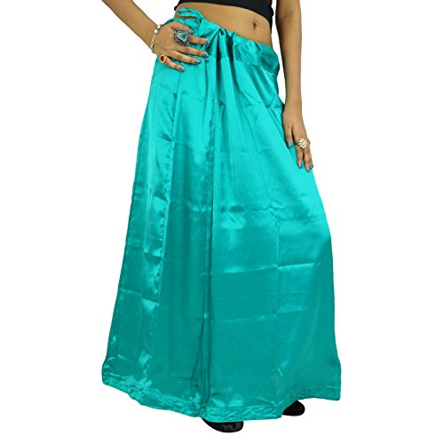 Indian Silk Satin Petticoat Bollywood Solide Inskirt Futter für Sari Frauen Kleidung Knickenten-Grün