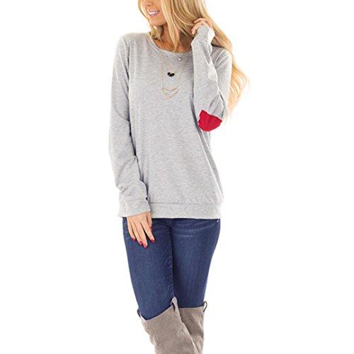 Malloom® Frauen Valentinstag Liebe Langarm Sweatshirt Pullover Tops Bluse Shirt Tee beste Geschenke für Ihre frau und freundin Valentinstag Geschenk (grau, S) (Boot Print Tee)
