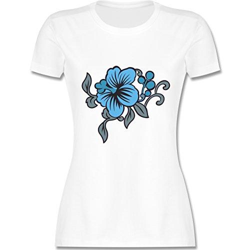 Blumen & Pflanzen - Blumen - tailliertes Premium T-Shirt mit Rundhalsausschnitt für Damen Weiß